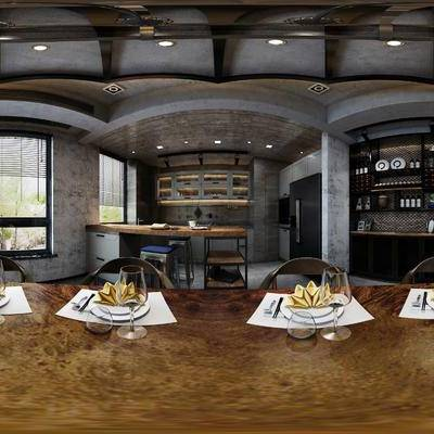 工业风餐厅, 餐桌椅组合, 吧台, 吧椅, 储物柜, 多人沙发, 吊灯, 茶几, 壁画, 盆栽, 时钟, 工业风