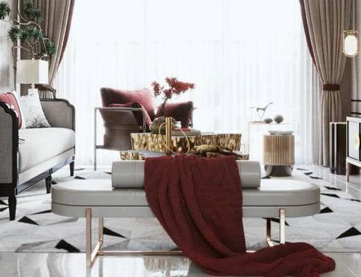 沙發組合, 新中式客廳, 客廳