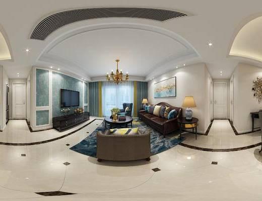 美式客餐厅, 吊灯, 多人沙发, 茶几, 电视柜, 桌子, 椅子, 边几, 台灯, 壁画, 置物柜, 美式