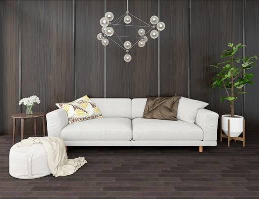 沙发组合, 双人沙发, 边几, 盆栽, 吊灯, 现代