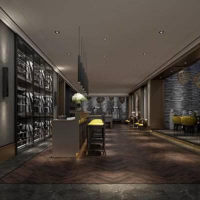 会客区, 吧台, 吧椅, 椅子, 边几, 置物柜, 现代
