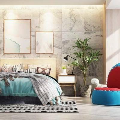 床具组合, 壁画, 双人床, 边几, 台灯, 凳子, 盆栽, 地毯, 北欧