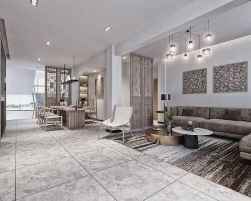 现代, 禅意, 新中式, 客厅, 餐厅, 客餐厅, 隔断, 屏风, 沙发组合, 吊灯, 沙发茶几组合, 转角沙发, 桌子, 椅子, 茶具