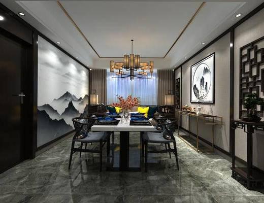 中式餐厅, 吊灯, 桌子, 椅子, 双人沙发, 落地灯, 壁画, 边几, 花瓶, 中式