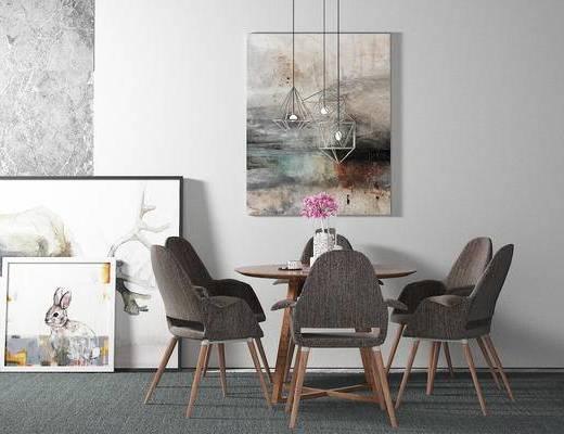 桌椅组合, 桌子, 椅子, 壁画, 吊灯, 北欧