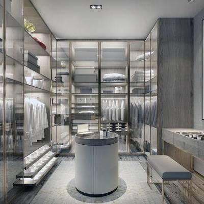 衣帽间, 衣柜, 梳妆台, 边几, 现代