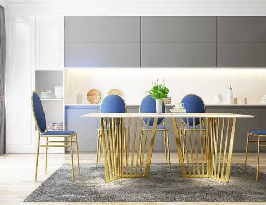 桌椅组合, 桌子, 椅子, 置物柜, 北欧
