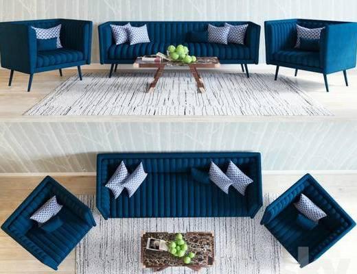 后现代, 沙发, 茶几, 水果, 抱枕, 书籍