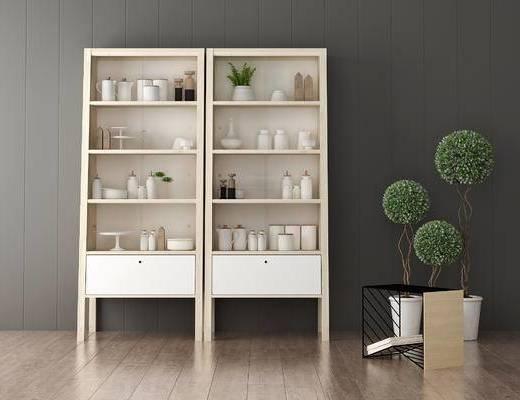 装饰柜, 盆栽, 现代
