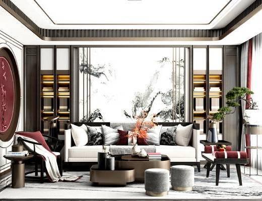 沙发组合, 茶几, 背景墙, 端景台, 单椅, 植物