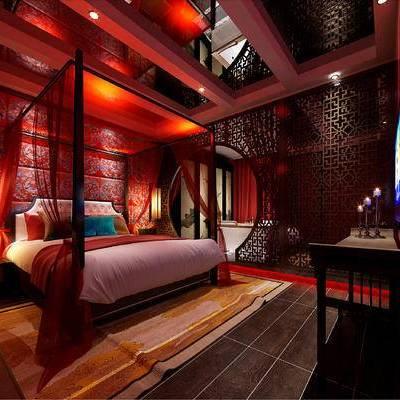 中式客房, 双人床, 吊灯, 桌子, 浴缸, 壁画, 中式