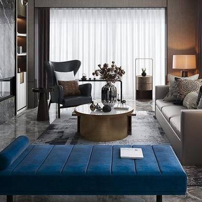 后现代客厅, 多人沙发, 置物柜, 茶几, 边几, 椅子, 台灯, 沙发躺椅, 花瓶, 后现代
