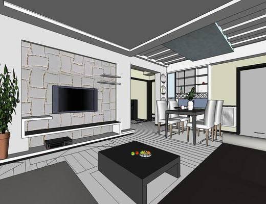 现代客厅, 客厅餐厅, 现代餐厅, 沙发组合