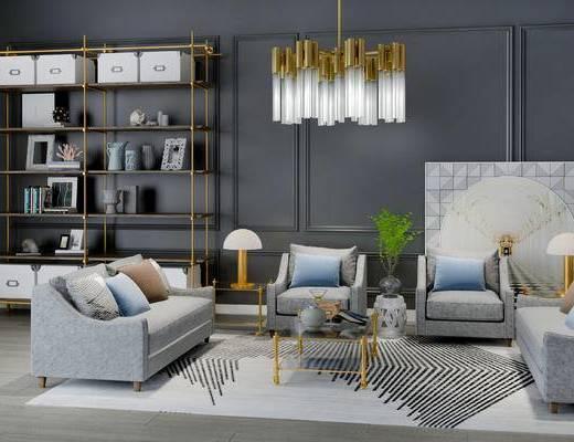 沙发组合, 置物架, 吊灯, 椅子, 边几, 台灯, 茶几, 多人沙发, 盆栽, 欧式