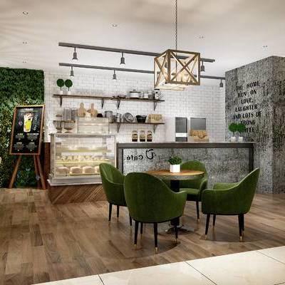 现代咖啡厅, 吊灯, 桌子, 椅子, 吧台, 置物柜, 现代