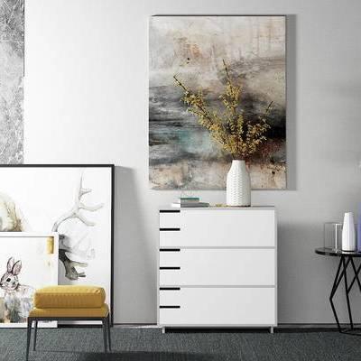 边柜, 壁画, 边几, 花瓶, 凳子, 现代