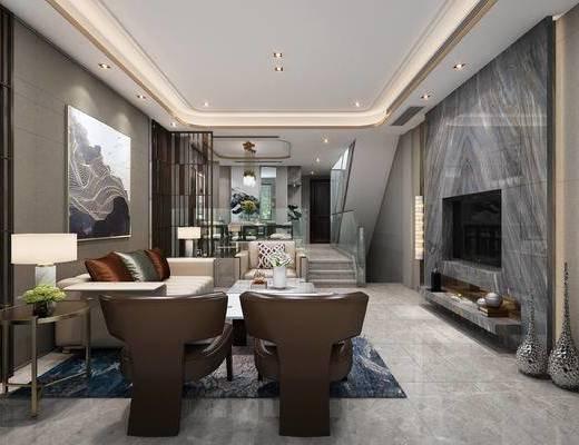 现代客厅, 壁画, 多人沙发, 椅子, 边几, 台灯, 茶几, 吊灯, 壁灯, 现代