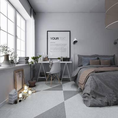 现代简约, 床具组合, 桌椅组合, 陈设品组合, 落地灯