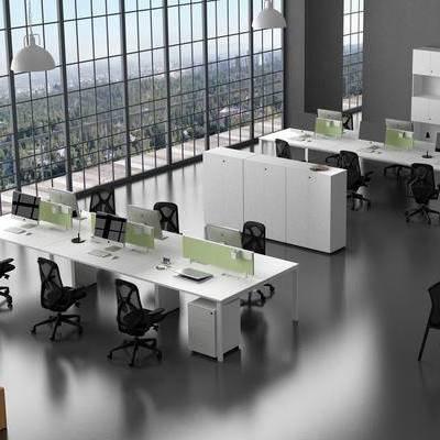 办公室, 桌子, 吊灯, 椅子, 置物柜, 现代