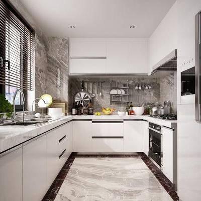 现代, 厨房, 橱柜, 盆栽, 厨具, 冰箱, 烤箱, 食物
