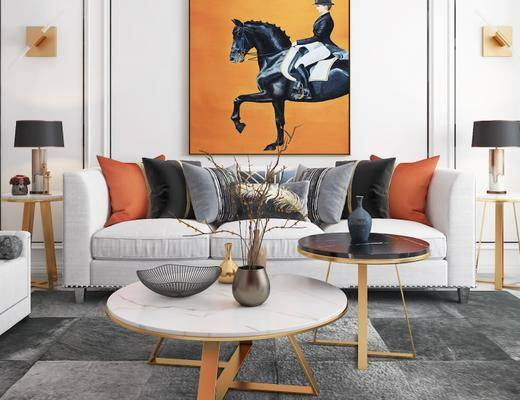 现代客厅, 沙发茶几组合, 茶几, 壁画, 边几, 台灯, 花瓶, 地毯, 现代