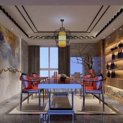 茶室, 吊灯, 桌子, 椅子, 置物柜, 壁画, 花瓶, 新中式