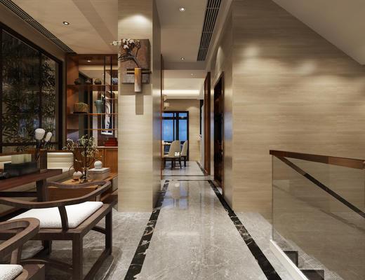 玄关走廊, 椅子, 多人沙发, 壁画, 边柜, 花瓶, 中式