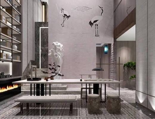 新中式, 茶具, 落地灯, 盆栽, 置物架, 书籍, 桌子, 椅子