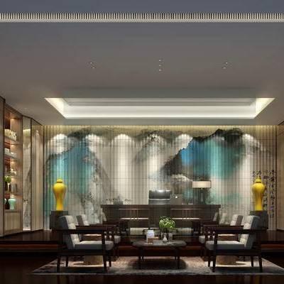 新中式办公室, 新中式沙发, 桌子, 椅子, 置物柜, 壁画, 茶几, 花瓶, 台灯, 新中式