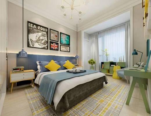北欧卧室, 壁画, 双人床, 吊灯, 床头柜, 桌子, 台灯, 边柜, 北欧
