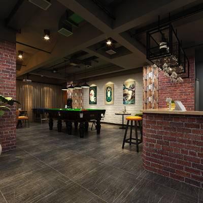 现代咖啡厅, 吧椅, 吧台, 桌子, 壁画, 置物架, 盆栽, 现代