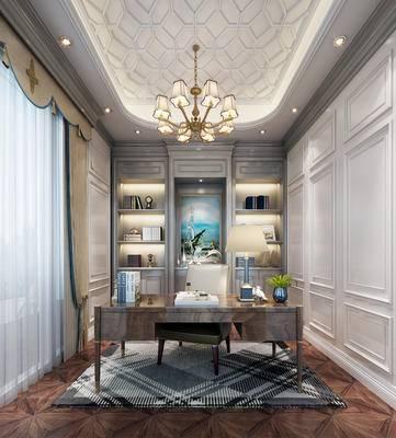 现代书房, 置物柜, 吊灯, 桌子, 椅子, 现代