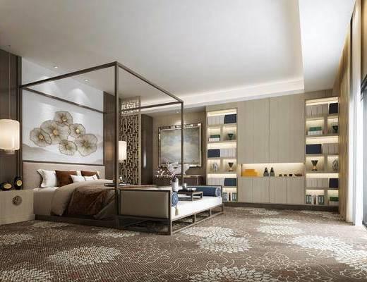 新中式卧室, 双人床, 壁画, 床头柜, 床尾塌, 置物柜, 吊灯, 新中式