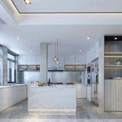 现代简约, 厨房, 吊灯, 橱柜, 厨具, 下得乐3888套模型合辑