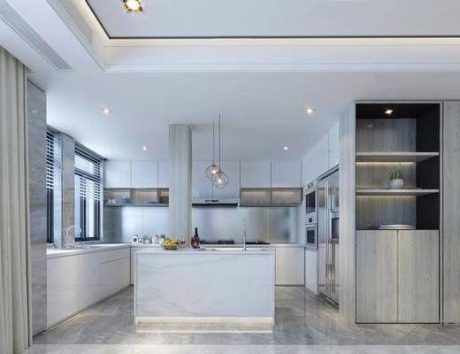 现代简约, 厨房, 吊灯, 橱柜, 厨具