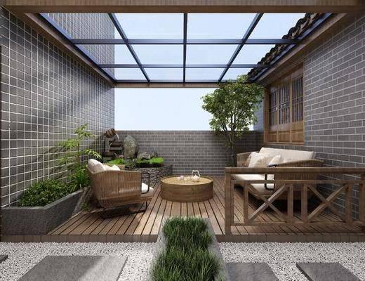 中式庭院, 露台, 休闲桌椅, 露天庭院, 鹅蛋石头