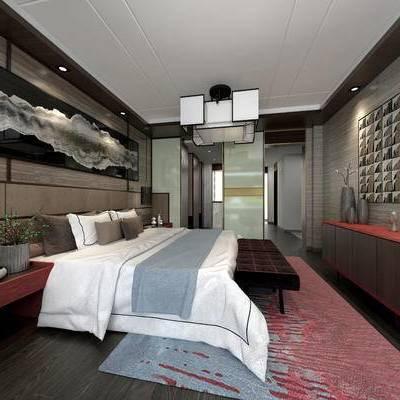 现代卧室, 吊灯, 双人床, 柜子, 壁画, 床头柜, 盆栽, 现代