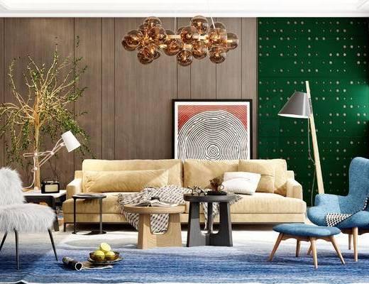 沙发组合, 茶几, 吊灯, 装饰画, 落地灯, 植物