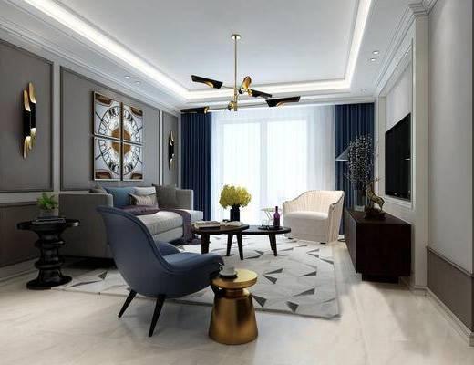 现代客厅, 吊灯, 壁画, 多人沙发, 椅子, 电视柜, 茶几, 边几, 花瓶, 现代
