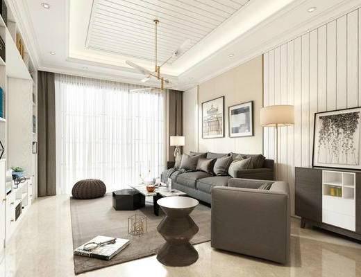 现代简约, 客厅, 沙发茶几组合, 吊灯, 落地灯