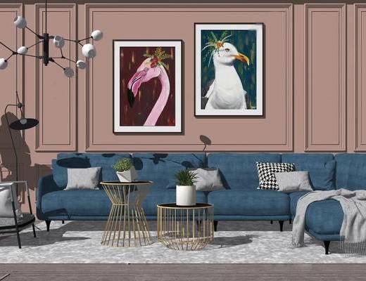 沙发组合, 现代, 挂画, 吊灯, 茶几, 椅子, 现代沙发