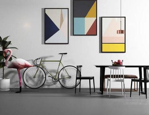 北欧简约, 桌椅组合, 单车, 挂画, 吊灯