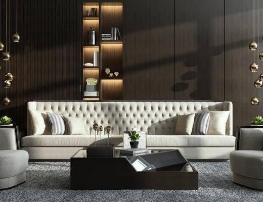 现代简约, 沙发茶几组合, 植物盆栽, 置物柜