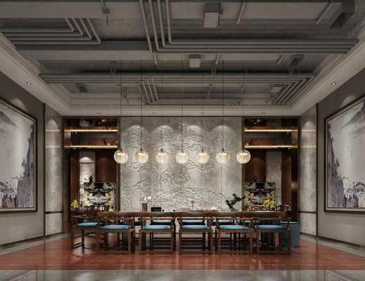会客区, 桌子, 椅子, 壁画, 盆栽, 花瓶, 吊灯, 新中式