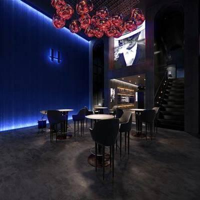 酒吧, 壁画, 吊灯, 吧椅, 桌子, 现代