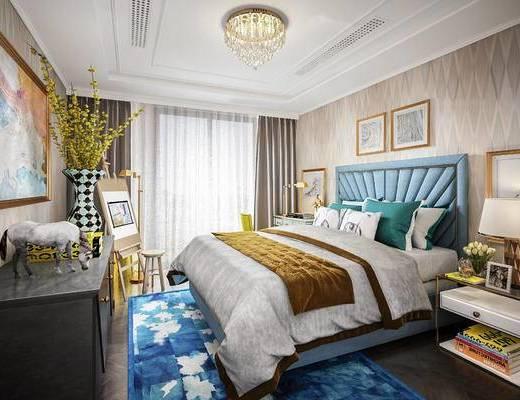 后现代, 卧室, 床, 吊灯, 挂画, 摆件, 台灯, 床头柜, 窗帘