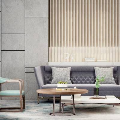 沙发组合, 多人沙发, 茶几, 椅子, 新中式