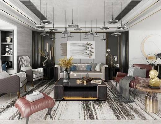 后现代, 沙发, 茶几, 吊灯, 台灯, 花瓶, 多人沙发