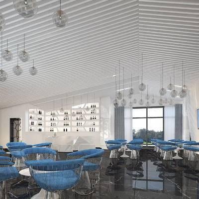 现代咖啡厅, 桌子, 椅子, 吊灯, 置物柜, 现代