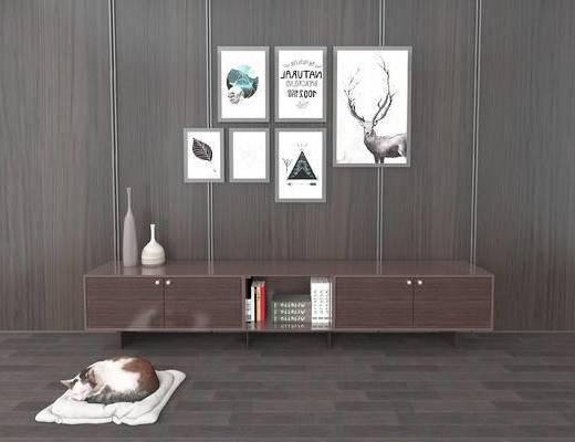 电视柜, 挂画, 现代